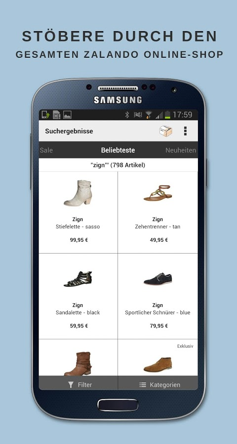 zalando im app test die mobile app f r schuhe mode. Black Bedroom Furniture Sets. Home Design Ideas